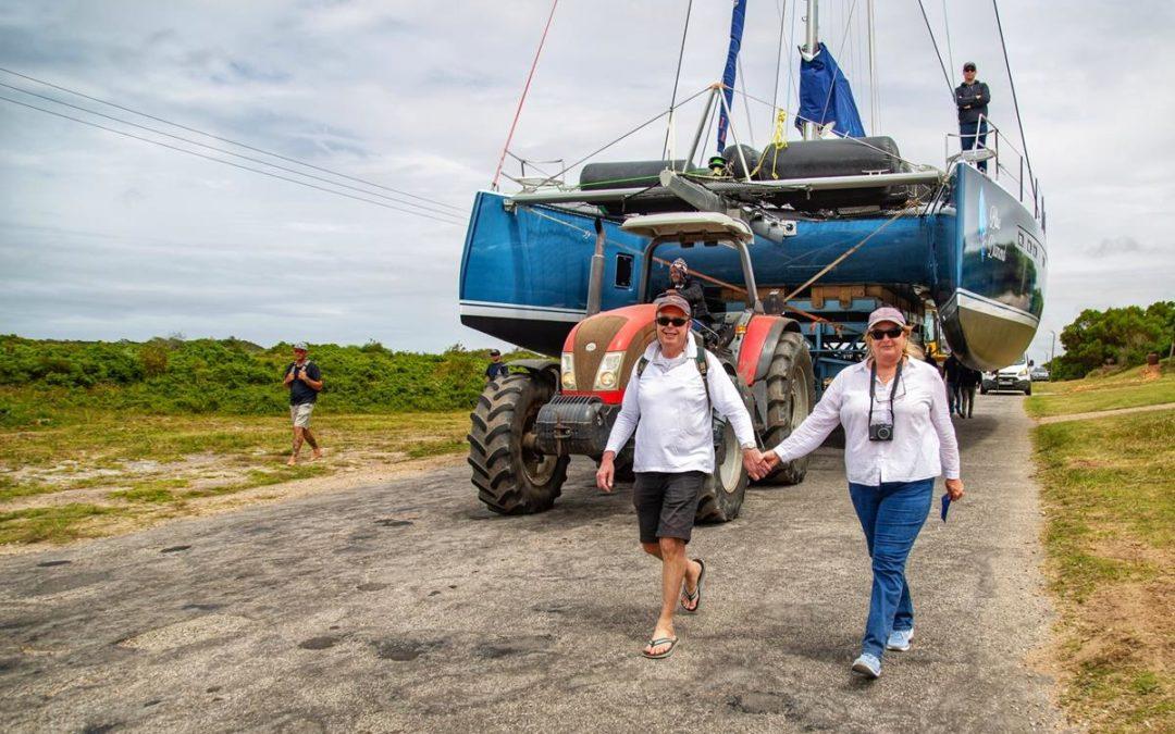 Balance 529 Sailing Catamaran launch: Hull # 9, Blue Diamond, goes in the water